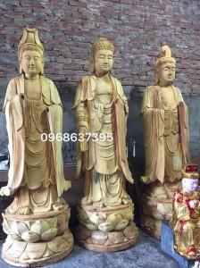 tượng tam thánh gỗ mít